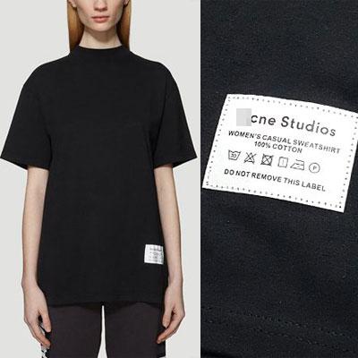 [UNISEX]ランドリーラベルパッチショートスリーブTシャツ-BLACK
