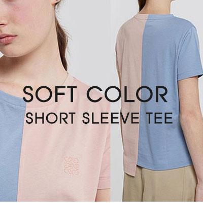 [レディース]HALF&HALFソフトカラーロープ刺繍ポイント半袖Tシャツ
