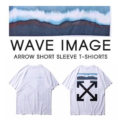 [UNISEX]WAVEイメージARROWプリント半袖Tシャツ-white