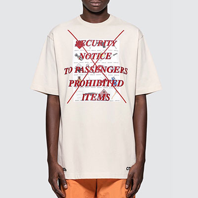 [UNISEX]レッドレタリング半袖Tシャツ-white beige