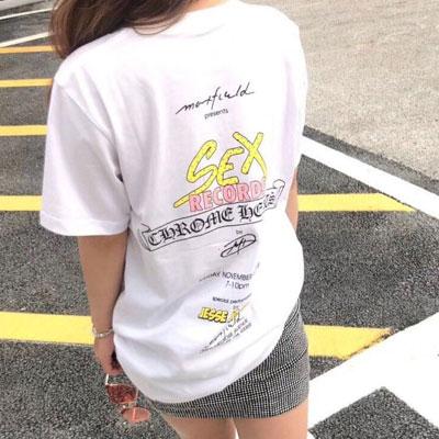 [UNISEX]ピンクレコード半袖ポロシャツ(2color)