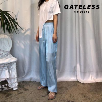 【GATELESS】 シフォンワイドパンツ -BLUE
