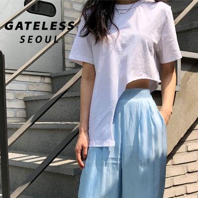 【GATELESS】アンバランスクロップTシャツ/半袖 -White
