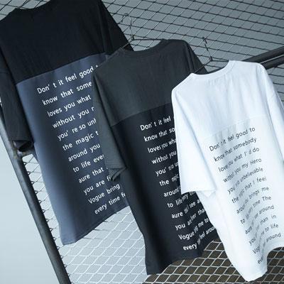 [UNISEX] レタリングアンバランスボクシーTシャツ (3color)