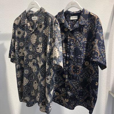 [UNISEX]スクエアペイズリーバンダナシャツ(4cololr)