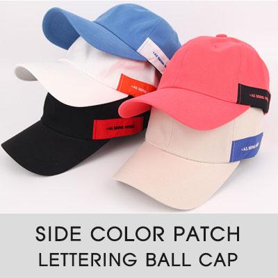 [UNISEX]サイドカラーパッチレタリングボールキャップ(6color)