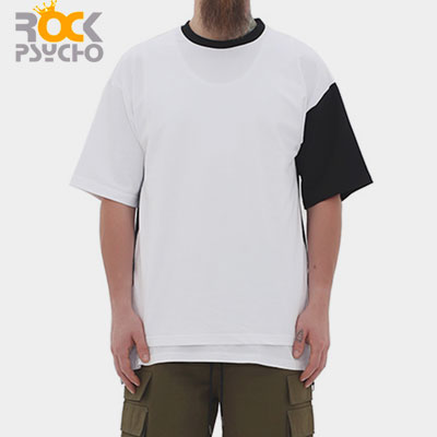 【ROCK PSYCHO】サイドスリットリングファスナー半袖Tシャツ-white