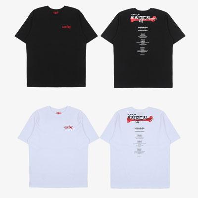 [UNISEX]シティネームブラックプリント半袖Tシャツ(2color)