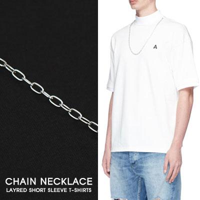 [UNISEX]チェーンネックレスst.レイヤード半袖Tシャツ(2color)