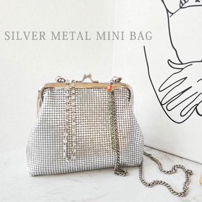 シルバーメタルミニトートバッグ/ショルダーバッグ