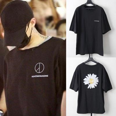 [UNISEX]G-DRAGON st.FLOWER FLASH 半袖Tシャツ-BLACK