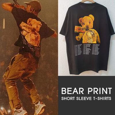 [UNISEX] BEAR PRINT 半袖Tシャツ-BLACK