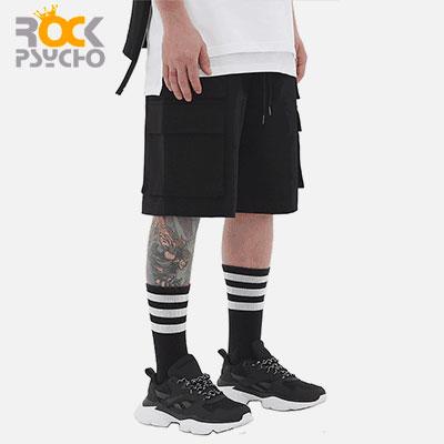 【ROCK PSYCHO】[UNISEX]ダブルカーゴハーフパンツ-BLACK(2size)