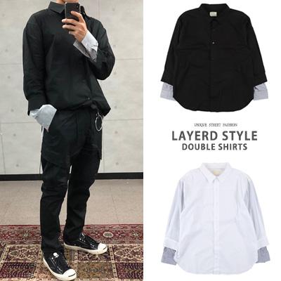 [UNISEX] レイヤードスタイルダブルシャツ(2color)