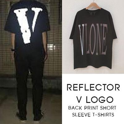 [UNISEX]リフレクターV ロゴ バックプリント半袖Tシャツ-black