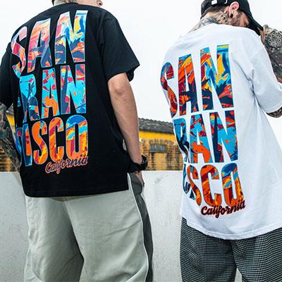 [UNISEX]サンフランシスコマーブルリングロゴ半袖Tシャツ(2color)