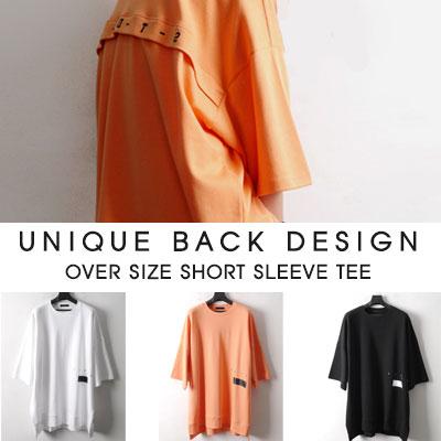[UNISEX]ユニークバックデザインオーバーサイズ半袖Tシャツ(3color)
