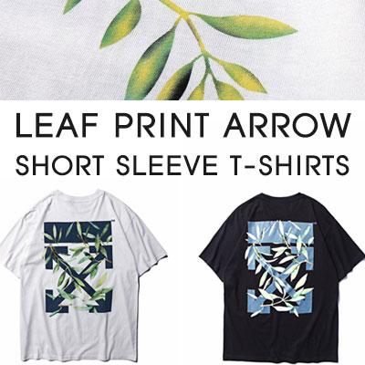 [UNISEX]リーフプリントARROW ショートスリーブTシャツ(2color)