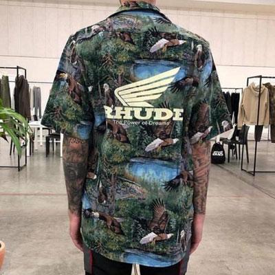 [UNISEX]ウイングバックプリントハワイアン半袖シャツ