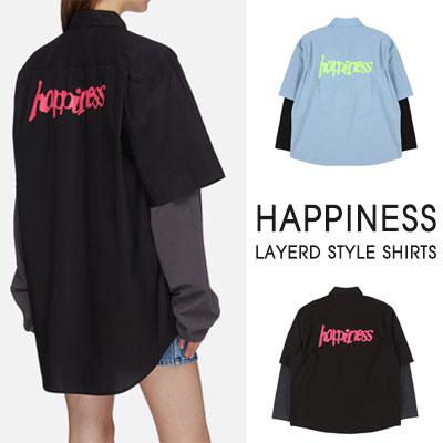[UNISEX]ハピネスバックロゴレイヤードスタイルシャツ(2color)