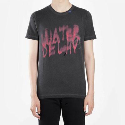 [UNISEX]ウォーターカラーレタリング半袖Tシャツ