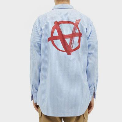 [UNISEX]RED [A]ロゴブルーストライプシャツ