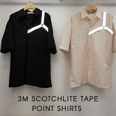 [UNISEX]3Mスコッチライトテープポイントシャツ(2color)