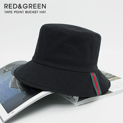 [UNISEX]グリーン&レッドテープポイントバケットハット(3color)