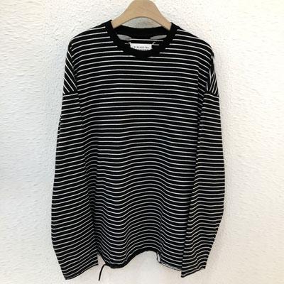 [UNISEX]ヴィンテージダメージストライプ長袖Tシャツ