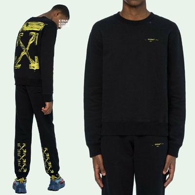 [UNISEX]ヴィンテージイエローペイントARROWスウェットシャツ-black