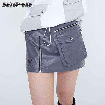 【SETUP-EXE】OPEN-POCKET WRAP SKIRT- GREY