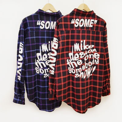 [UNISEX]バックレタリングポイントプレイドシャツ(2color)