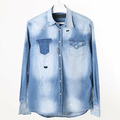 [LIGHT BLUE]ポケットカットハイエンドスタイルデニムシャツ(3size)