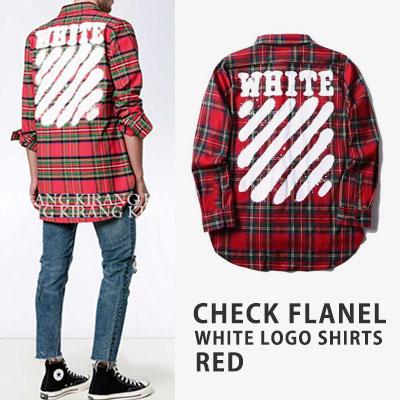 [UNISEX] チェックフランネルホワイトロゴシャツ -red