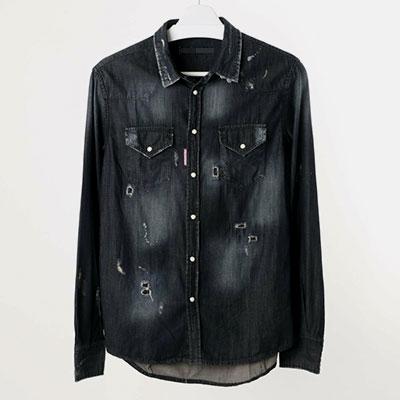 [BLACK BLUE]マルチダメージデニムシャツ(3size)