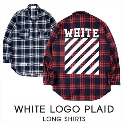 [UNISEX]ホワイトロゴチェックロングシャツ(2color)