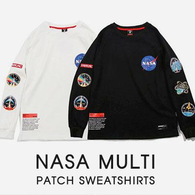 [UNISEX]NASA マルチパッチスウェットシャツ(2color)