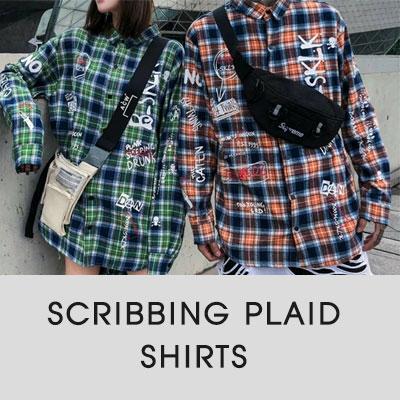 [UNISEX]スクライビングプレイドシャツ(2color)