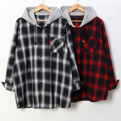 [UNISEX]チェックフードシャツ(2color/3size)