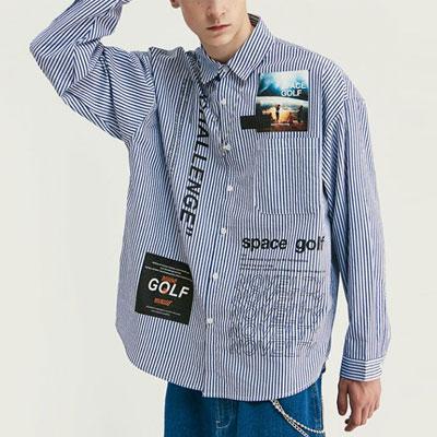 [UNISEX]フォトプリントストライプ長袖シャツ(2color)