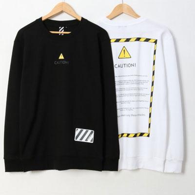 [UNISEX]CAUTION!マークプルントスウェットシャツ(2color/3size)