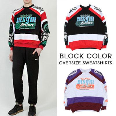 [UNISEX]ブロックカラーオーバーサイズスウェットシャツ(2color)