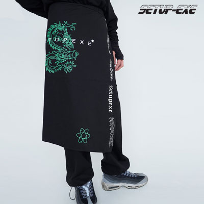 【SETUP-EXE】Universe wrap set Pants - black