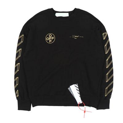 [UNISEX]ゴールドダイアゴナルプリントスウェットシャツ- black