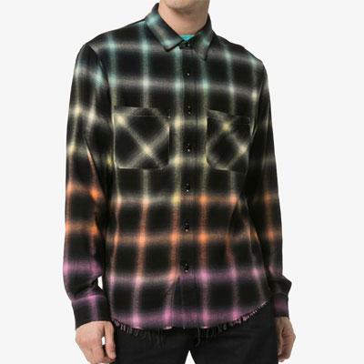 [UNISEX]カラーグラデーションフランネルシャツ