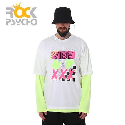 【ROCK PSYCHO】バイブレイヤードロングスリーブtシャツ-white