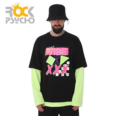 【ROCK PSYCHO】バイブレイヤードロングスリーブtシャツ-black