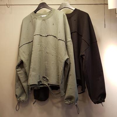 [UNISEX] クロップダメージスウェットシャツ (2color)