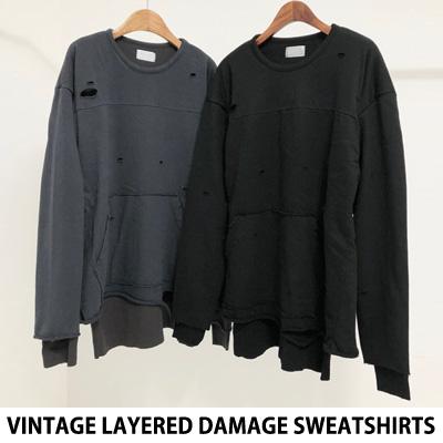 [UNISEX] ビンテージレイヤードダメージスウェットシャツ (2color)
