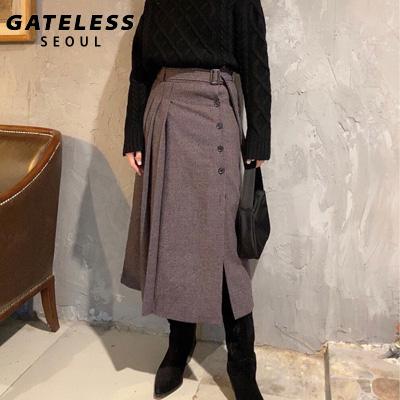 【GATELESS】プリーツスカートサイドスリットウールスカート (2color/2size)